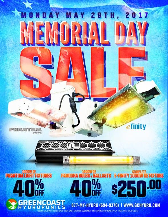 Memorial Day 2017 Sale at GreenCoast Hydroponics