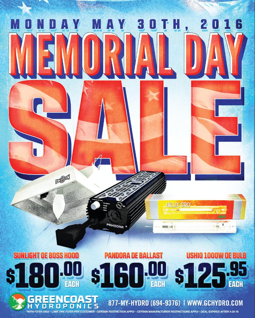 GreenCoast Memorial Day Sale 2016